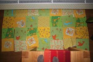 patchwork hrací deka - testování rozmístění vzoru