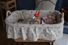 Košík pro miminko s doma ušitým potahem, Budilka